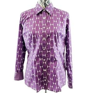 Boden Oval Print Fitted Cotton Button Front Shirt